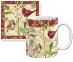 Cardinals & Holly Ceramic Mug Gift Set