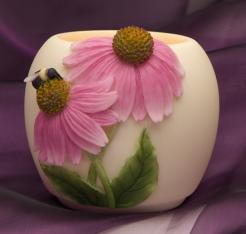 Cone Flower & Bee Votive Candle Holder