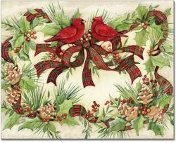 Cardinal Wreath Glass Cutting Board