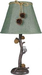 Pine Branch with Owl Accent Lamp