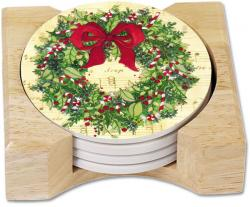 Classic Christmas Wreath Round Coaster Set