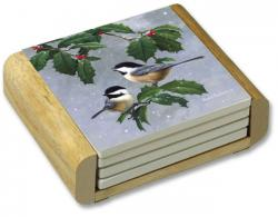 Chickadees and Holly Square Coaster Set