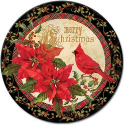 Merry Christmas Greeting Glass Lazy Susan