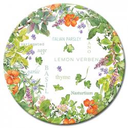 Culinary Herbs Glass Lazy Susan