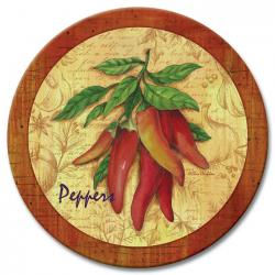 Fresh Peppers Glass Lazy Susan