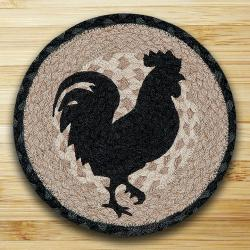 Rooster Silhouette Round Braided Trivet