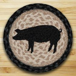 Pig Silhouette Round Braided Trivet